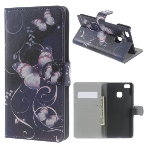 Leather Wallet Cover Card Holder for Huawei P9 Lite - Purple Butterflies and Vines