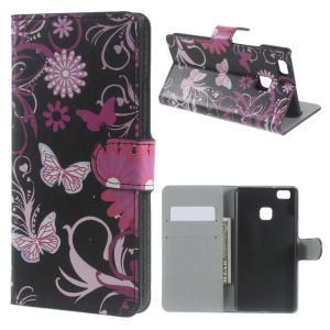 Magnetic Leather Wallet Cover for Huawei P9 Lite - Floral Butterflies