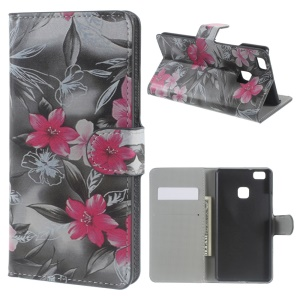 Leather Wallet Case Flip Cover for Huawei P9 Lite - Red Blooming Flowers