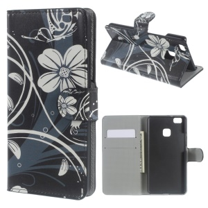 Leather Case Stand Cover for Huawei P9 Lite - Butterfly Flower