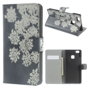 Leather Cover with Wallet Slots for Huawei P9 Lite - White Flowers