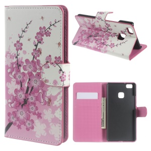 Leather Cover with Stand Card Slots for Huawei P9 Lite - Plum Blossom