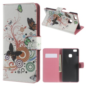 Wallet Leather Cover for Huawei P9 Lite - Colorful Butterflies and Circles
