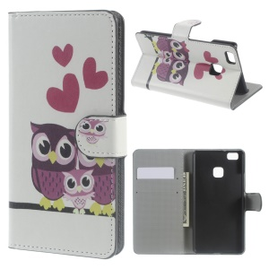 Stand Card Holder Leather Cover for Huawei P9 Lite - Sweet Owl Family