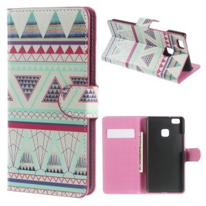 Magnetic Flip Leather Case Cover for Huawei P9 Lite - Tribal Triangles