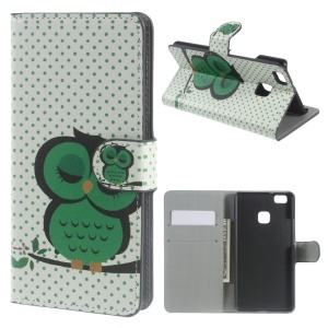 Leather Case Wallet Card Holder for Huawei P9 Lite - Green Napping Owl