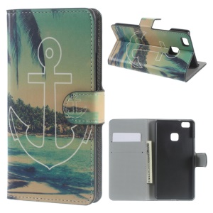 Leather Wallet Stand Cover for Huawei P9 Lite - Anchor Seaside View