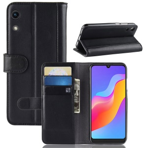 Split Leather Wallet Case with Stand for Huawei Honor Play 8A - Black