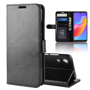 Wallet Stand Crazy Horse PU Leather Case for Huawei Honor Play 8A - Black