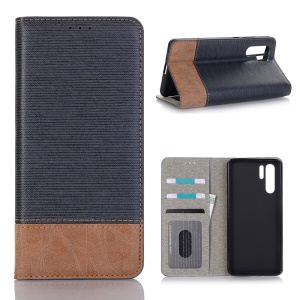 Bi-color Toothpick Texture Leather Wallet Cover for Huawei P30 Pro - Blue