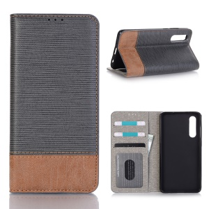 Bi-color Toothpick Texture Leather Wallet Case for Huawei P30 - Black