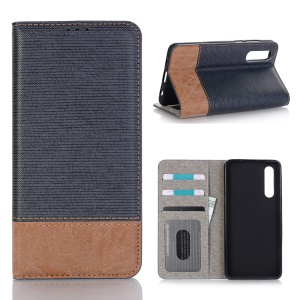 Bi-color Toothpick Texture Leather Wallet Cover for Huawei P30 - Blue