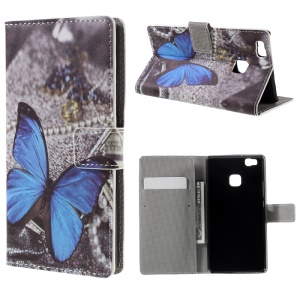 Patterned Leather Wallet Cover for Huawei P9 Lite - Blue Butterfly