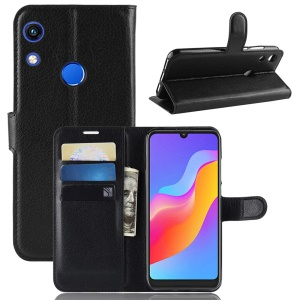 Litchi Skin Wallet Leather Stand Case for Huawei Honor 8A - Black