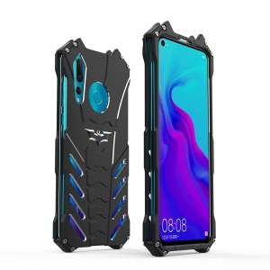 R-JUST 3-piece Cool Metal Shockproof Protection Case for Huawei nova 4 with Bracket - Black