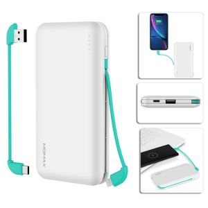 MOMAX MFI Certified 10000mAh iPower Minimal 5 External Battery with 3 Outputs - White