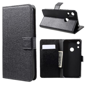 Litchi Texture Wallet Leather Phone Case with Stand for Huawei Honor 8A - Black