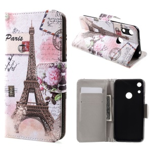 For Huawei Honor 8A [Cross Texture] Patterned Leather Wallet Mobile Case - Eiffel Tower and Flower