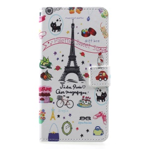 Patterned PU Leather Wallet Stand Protective Cover for Huawei Honor 8A - Eiffel Tower