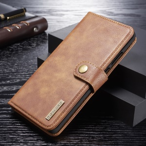 DG.MING Detachable 2-in-1 Split Leather Wallet Phone Shell + PC Back Case for Huawei P30 Pro - Brown