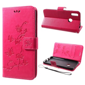 For Huawei Y7 (2019) Imprint Butterfly Flower Leather Phone Case [Wallet Stand] - Rose