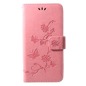 For Huawei Y7 (2019) Imprint Butterfly Flower Leather Cell Phone Cover [Wallet Stand] - Pink