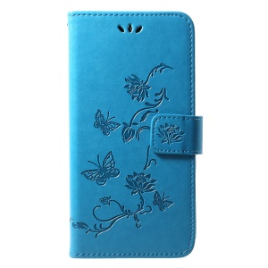 For Huawei Y7 (2019) Imprint Butterfly Flower Leather Mobile Shell [Wallet Stand] - Blue