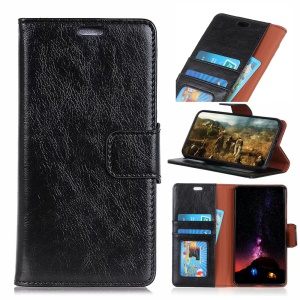 Textured Split Leather Wallet Magnetic Case for Huawei Honor Play 8A - Black
