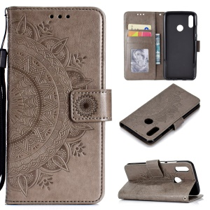 Imprinted Mandala Pattern Wallet Leather Mobile Case for Huawei Honor 8X / Honor View 10 Lite - Grey