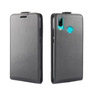 Crazy Horse Vertical Flip PU Leather Protection Cell Phone Case for Huawei Y7 (2019) - Black