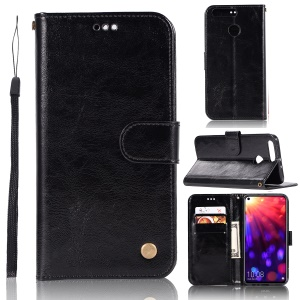 Vintage Premium PU Leather Wallet Case with Stand for Huawei Honor View 20 / V20 - Black
