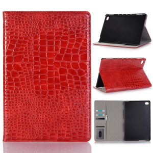 Crocodile Texture Wallet Stand Leather Smart Case for Huawei MediaPad M5 10/M5 10 (Pro) - Red