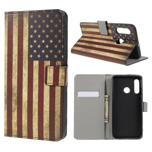 Pattern Printing PU Leather Flip Phone Cover [Stand Wallet] for Huawei P30 Lite - US Flag
