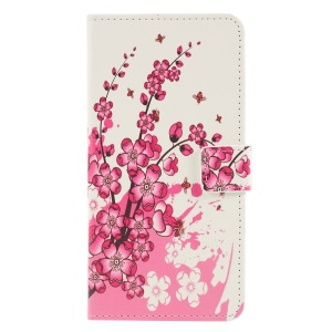 Pattern Printing PU Leather Flip Phone Cover [Stand Wallet] for Huawei P30 Lite - Peach Blossom