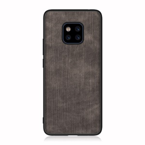 TPU+PU Leather Phone Cover for Huawei Mate 20 Pro Denim Full Covering Protective Case- Black