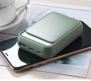ROCK P63 Mini Digital Display 10000mAh Power Bank Micro USB/Type-C Dual Inputs - Army Green