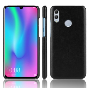 Litchi Texture PU Leather Coated PC Hard Cover Case for Huawei Y7 (2019) - Black