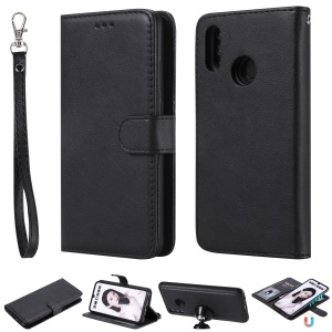 Magnetic Detachable 2-in-1 Wallet Leather Stand Case for Huawei Honor 10 Lite / P Smart (2019) - Black