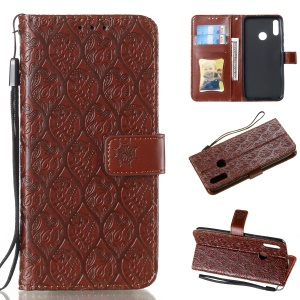 Imprint Leaf Wallet Stand Leather Case with Strap for Huawei P Smart (2019)/Honor 10 Lite - Brown