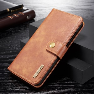 DG.MING Detachable 2-in-1 Split Leather Wallet Shell + PC Back Case for Huawei P30 Lite - Brown