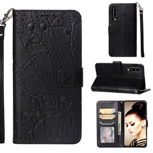 Imprinted Elephant Pattern Wallet Leather Stand Case for Huawei P30 - Black