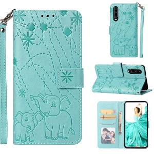 Imprinted Elephant Pattern Wallet Leather Stand Case for Huawei P30 - Cyan
