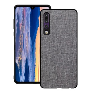 Non-slip Cloth Texture PC TPU Hybrid Phone Shell for Huawei P30 - Grey