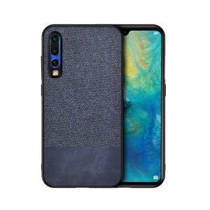Cotton Cloth + PU Leather Splicing Coated TPU Case for Huawei P30 - Blue