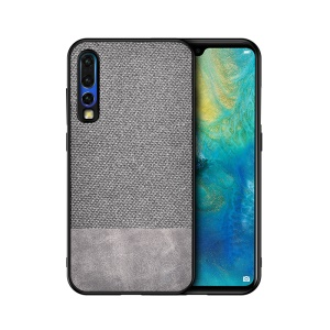 Cotton Cloth + PU Leather Splicing Coated TPU Case for Huawei P30 - Light Grey