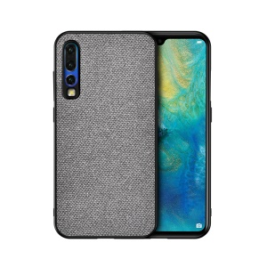 Cotton Cloth Coated TPU Case for Huawei P30 - Light Grey