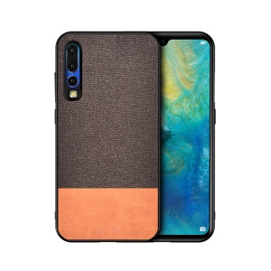 Cotton Cloth + PU Leather Splicing Coated TPU Case for Huawei P30 - Coffee