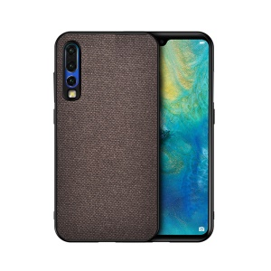 Cotton Cloth Coated TPU Case for Huawei P30 - Coffee
