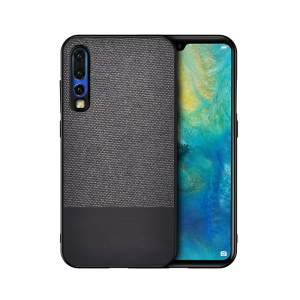 Cotton Cloth + PU Leather Splicing Coated TPU Case for Huawei P30 - Dark Grey