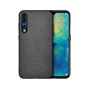 Cotton Cloth Coated TPU Case for Huawei P30 - Dark Grey